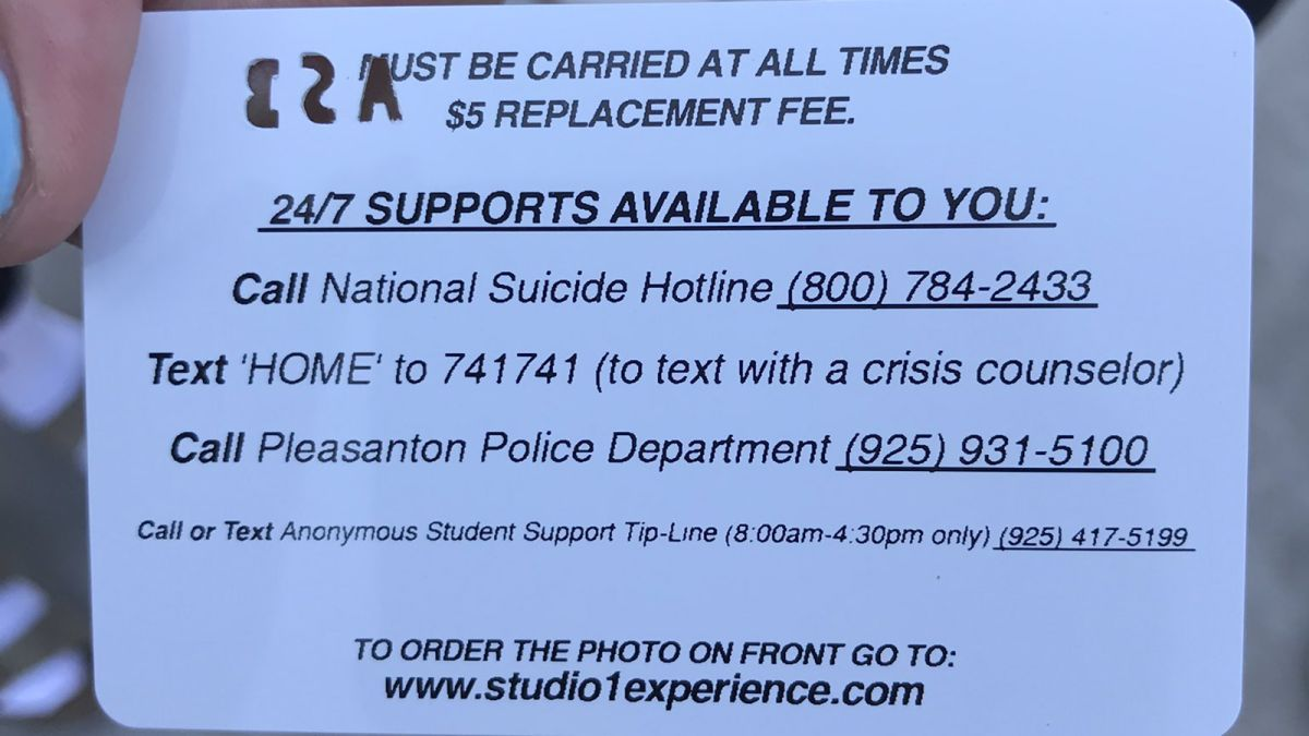 Personalized Screen To Id Suicidal >> California Law Puts A Suicide Hotline Number On School Id