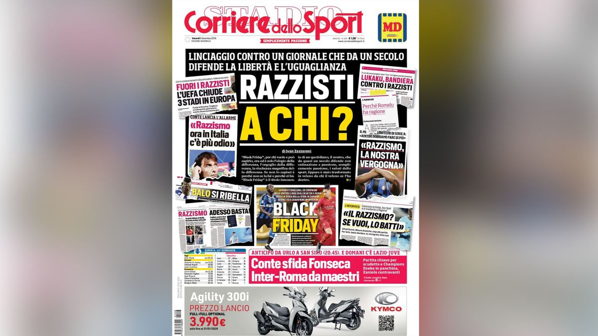 Corriere Dello Sport Accuses Critics Of Lynching Over Front Page Row Cnn