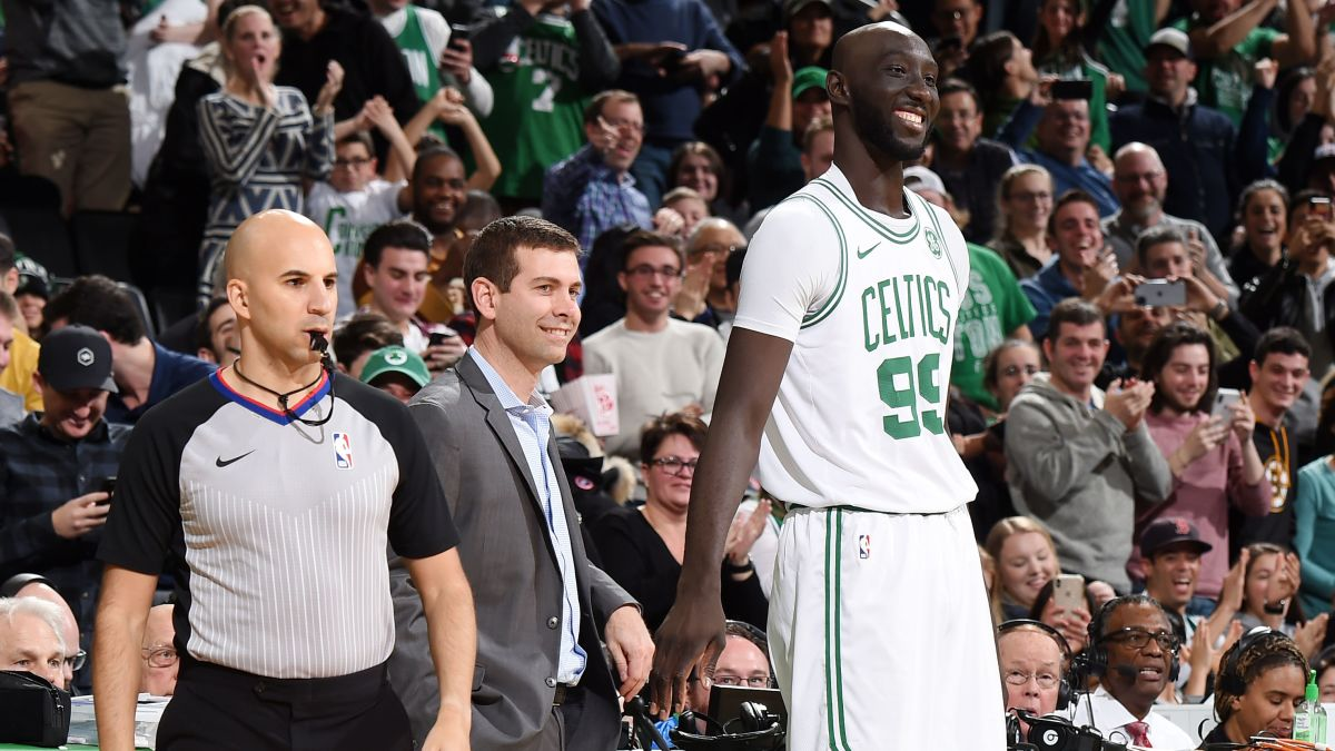Tacko Fall Finally Gets On The Celtics Court After Coach Brad Stevens Makes The Crowd Work For It Cnn