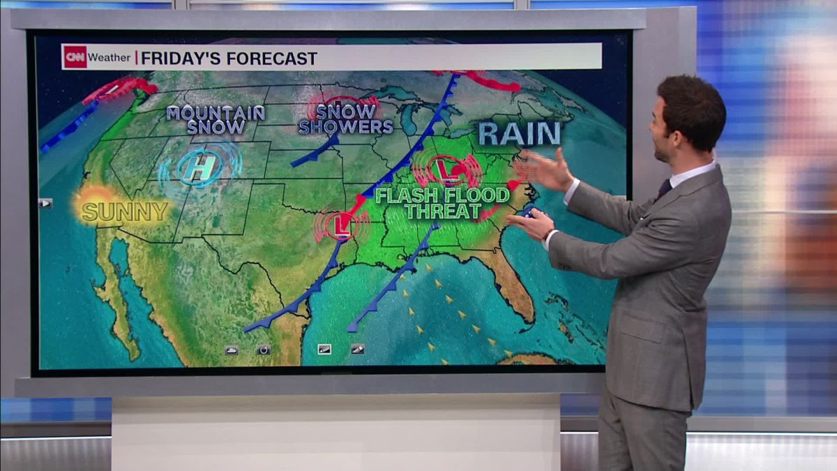 Eastern US weather system brings soggy start to weekend