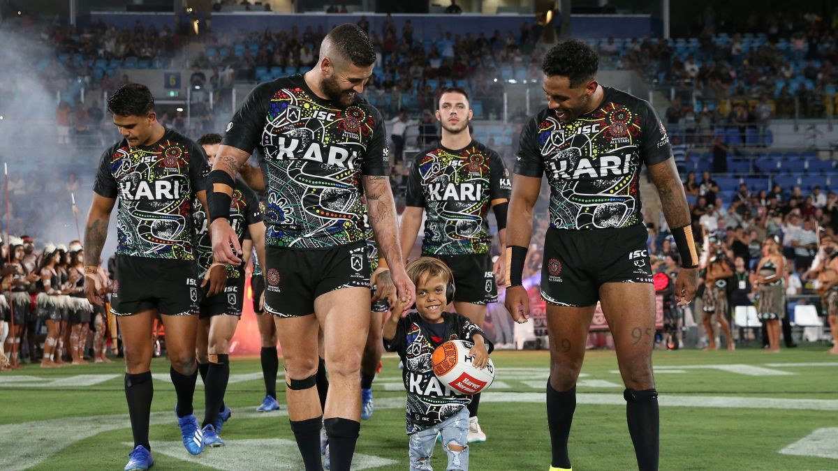 Image result for images of Bullied Australian boy Quaden Bayles leads out rugby team in front of thousands
