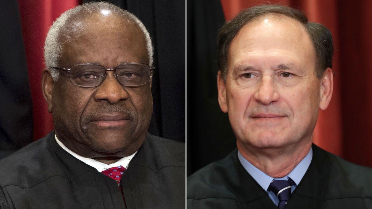 Carence Thomas e Samuel Alito: juízes conservadores ameaçam direito ao casamento gay nos EUA. (Foto: Reprodução / CNN)