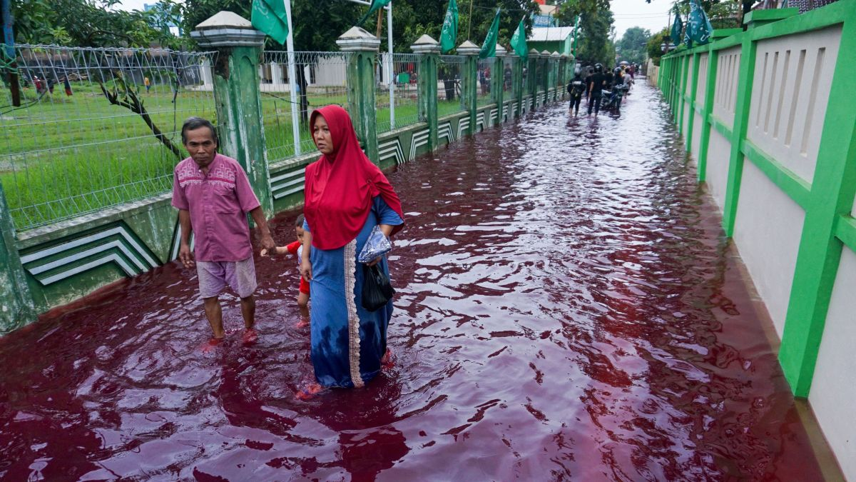 Image result for red water in indonisya