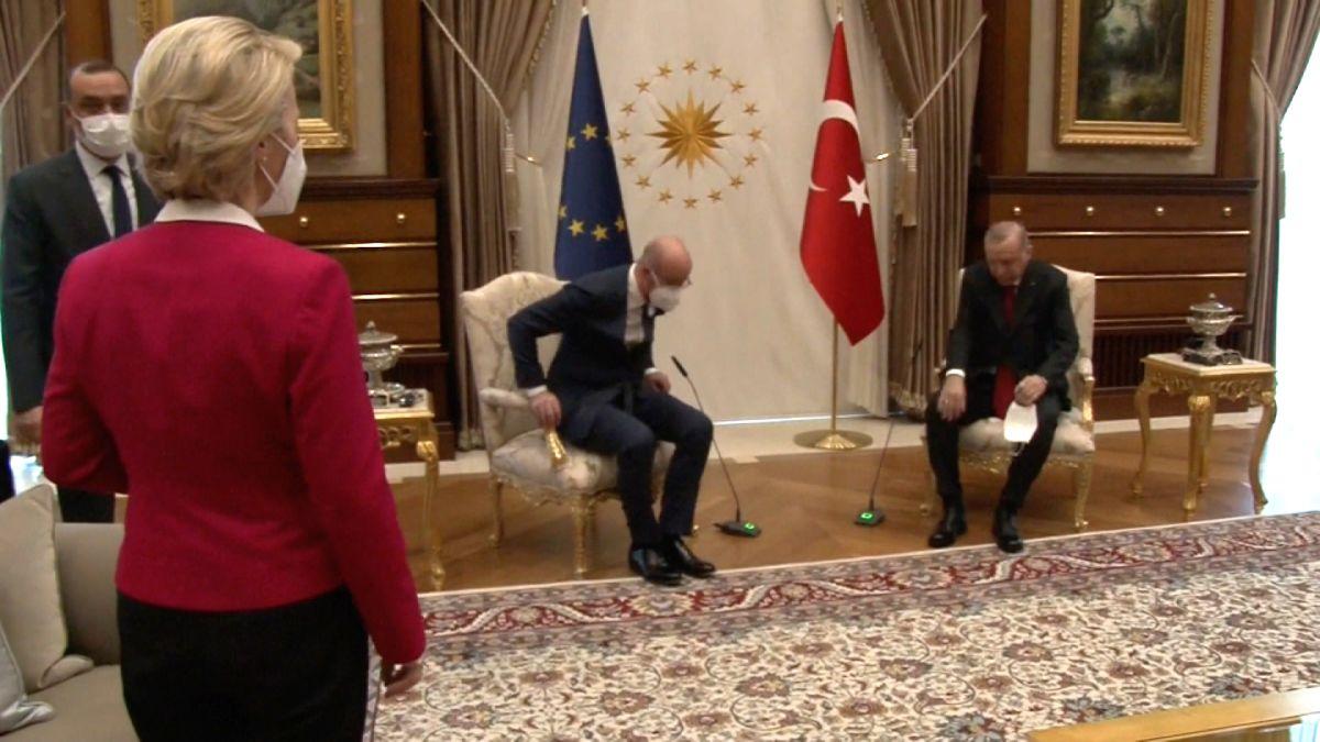 Ursula von der Leyen is left standing by her male counterparts in Turkey -  CNN