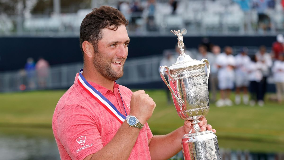 Jon Rahm with the US Open trophy at Torrey Pines