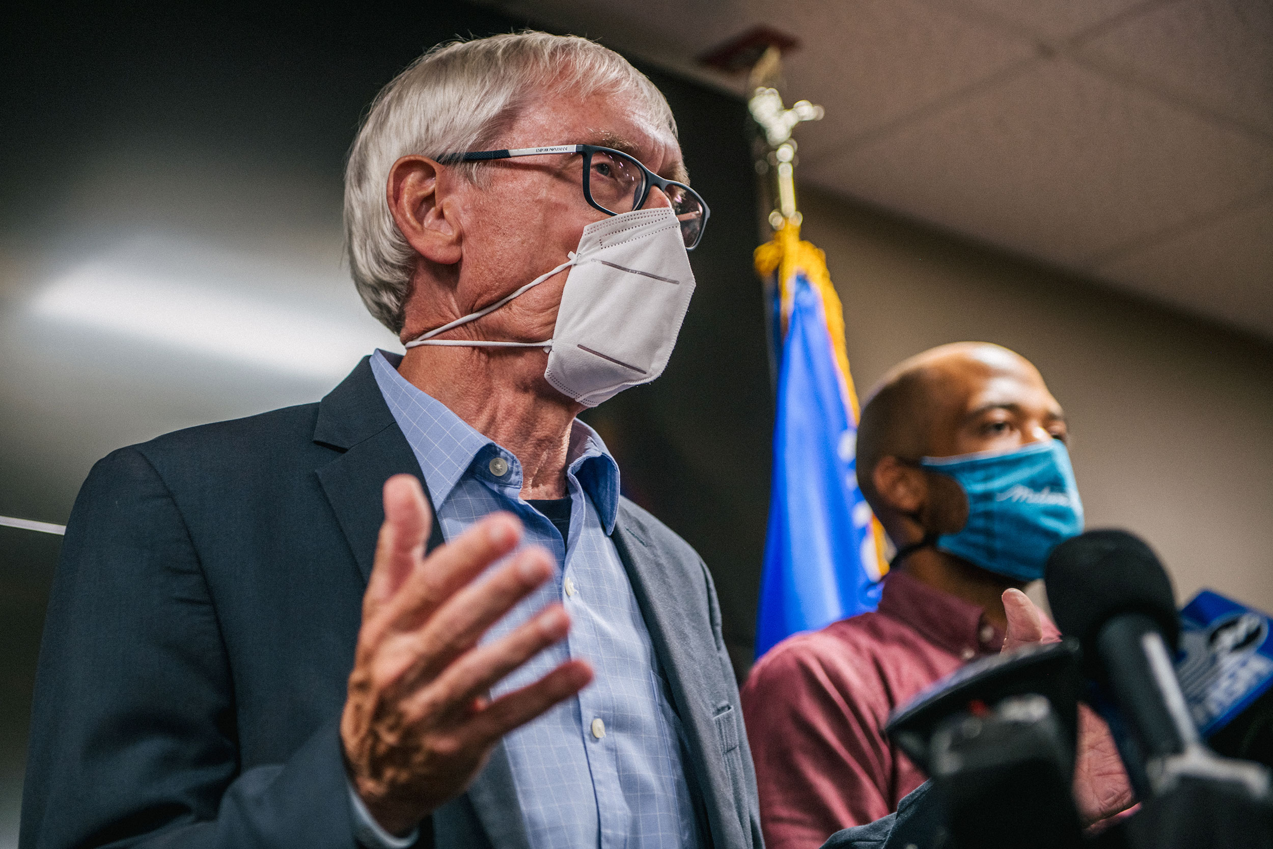 Wisconsin Gov. Tony Evers speaks at a news conference on August 27 in Kenosha, Wisconsin.