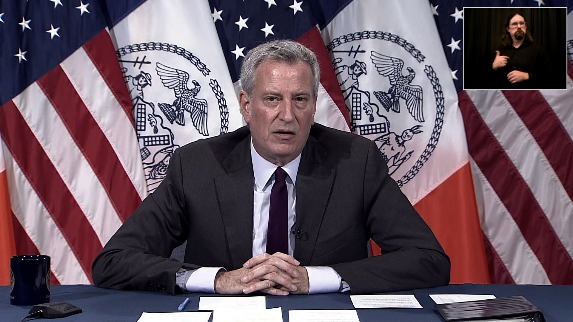 New York City Mayor Bill de Blasio speaks during a press conference in New York on June 29.
