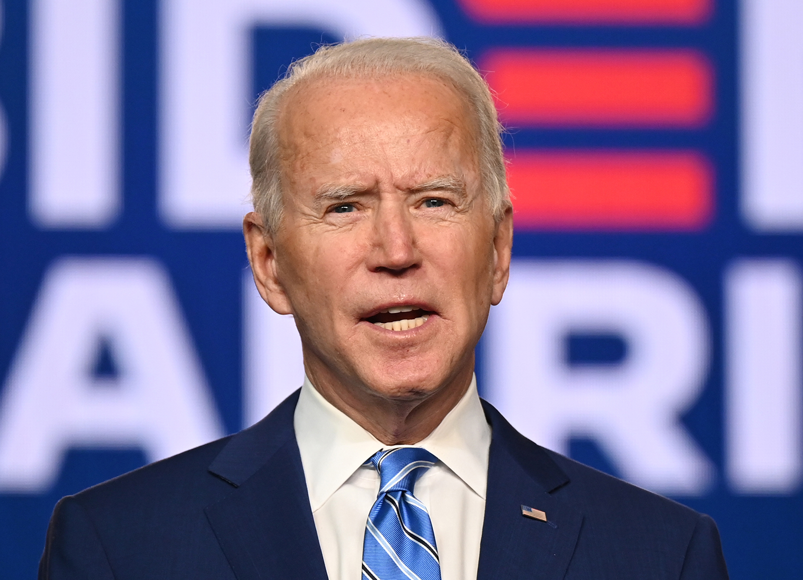Democratic Presidential candidate Joe Biden speaks at the Chase Center in Wilmington, Delaware on November 4.