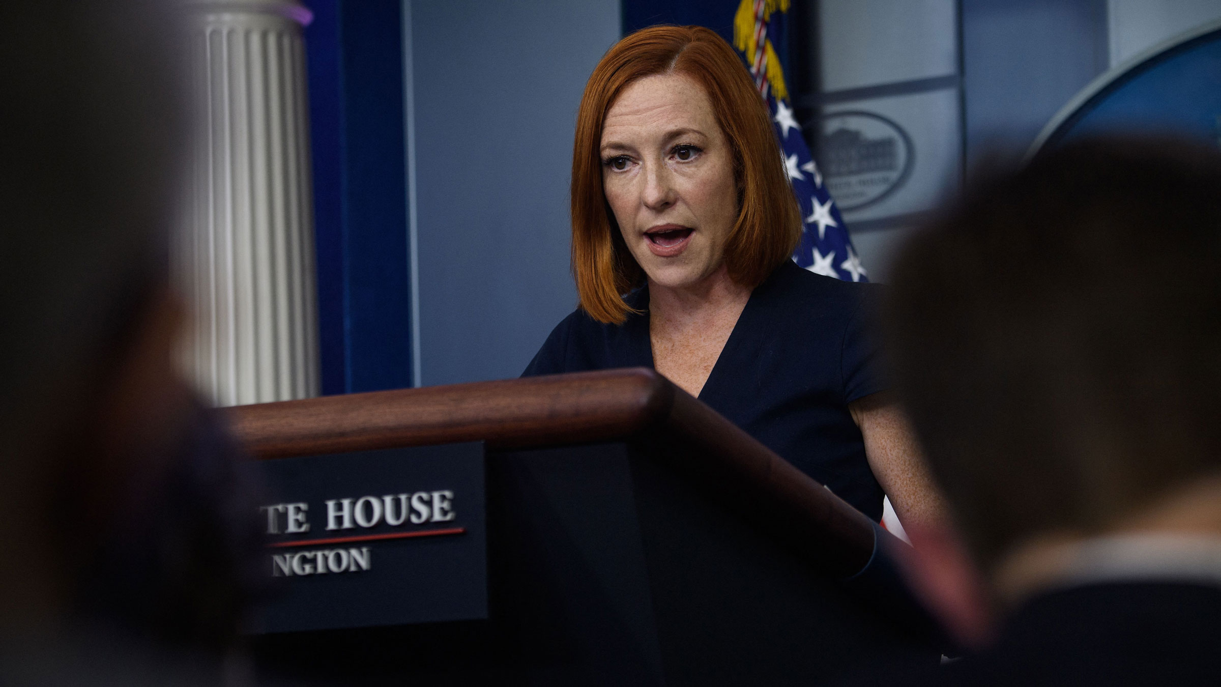 White House press secretary Jen Psaki speaks to the media on Wednesday.