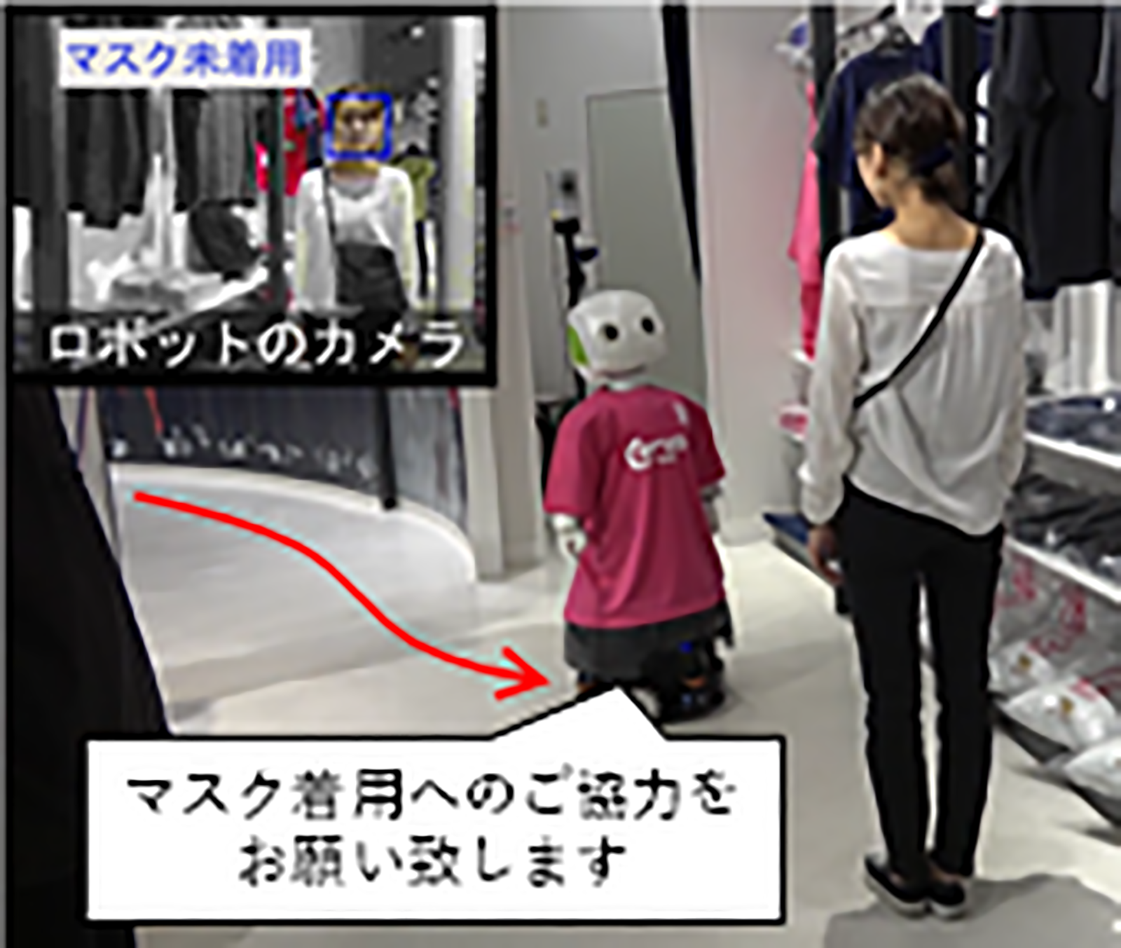 Advanced Telecommunications Research Institute International (ATR) is testing a clerk robot in Osaka that detects if customers are not wearing masks.