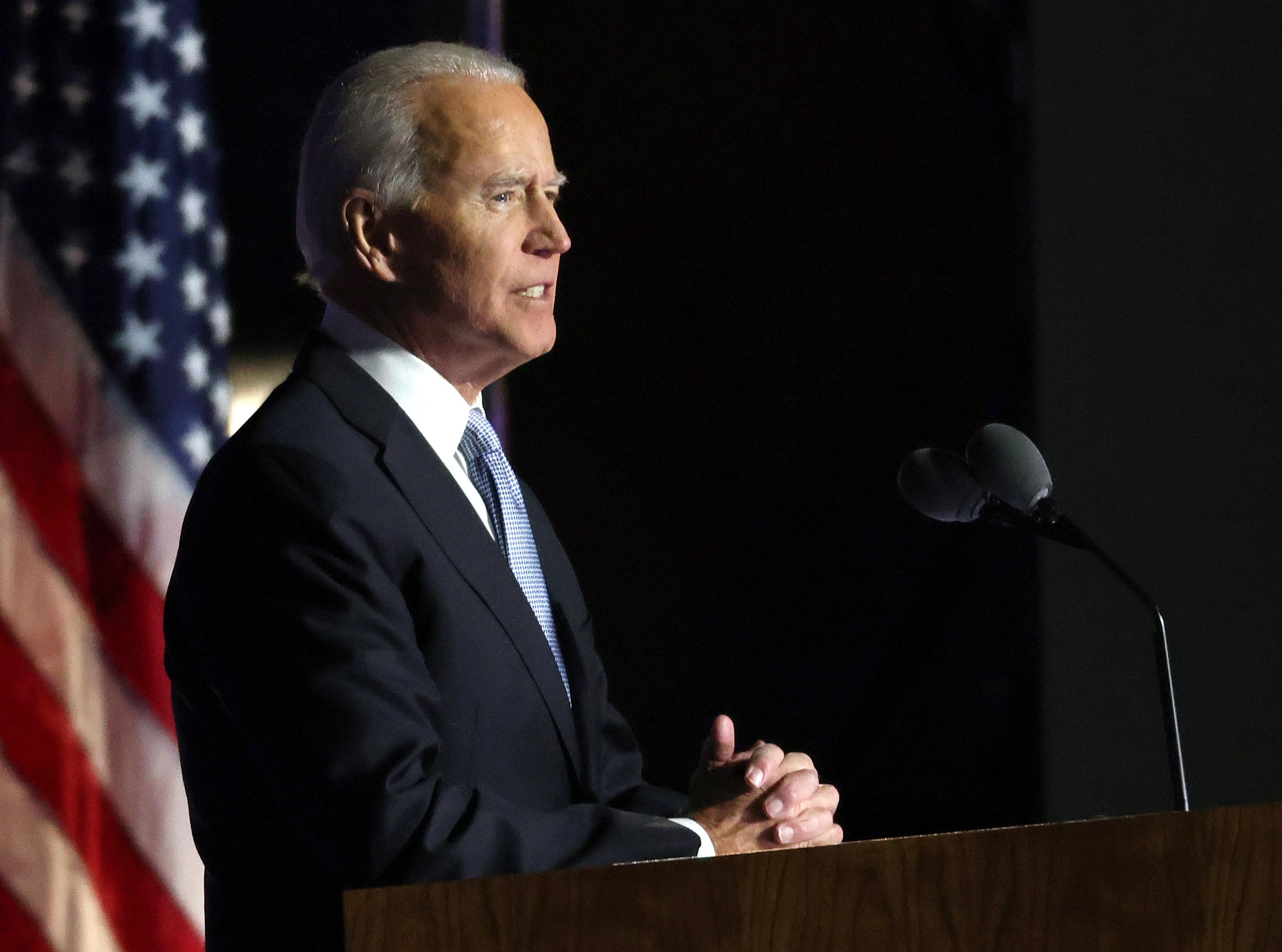 President-elect Joe Biden addresses the nation on November 7 in Wilmington, Delaware.