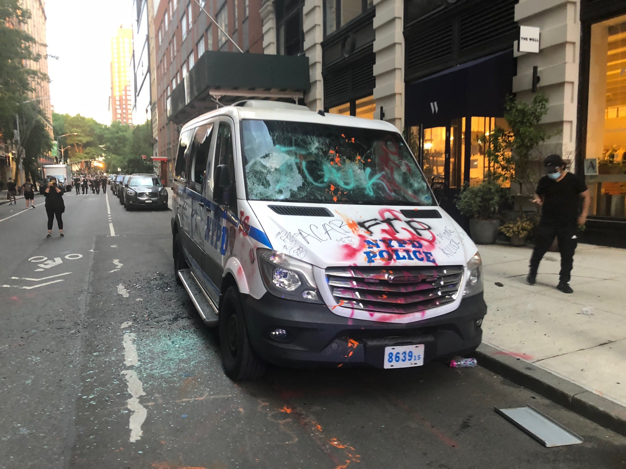 This NYPD van was vandalized and spray painted by protesters on May 30, 2020.