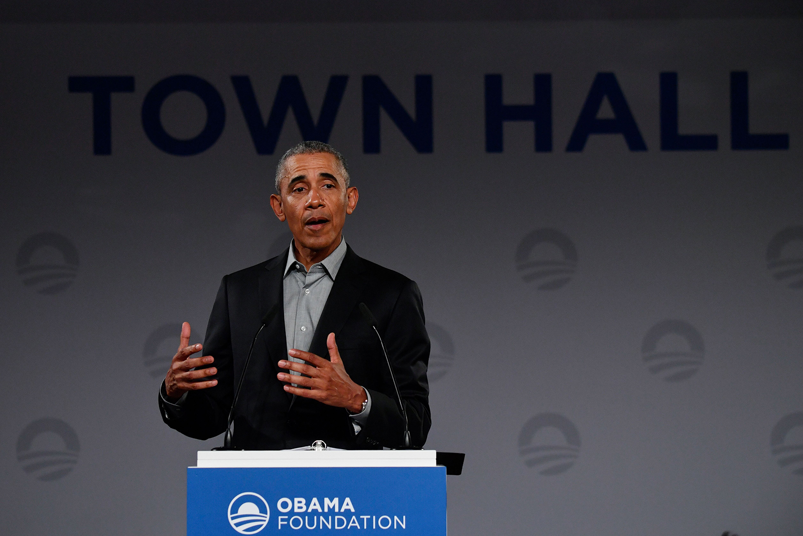 Former President Barack Obama address a townhall talk to discuss, among others, the future of Europe with young people on April 6, 2019 in Berlin.