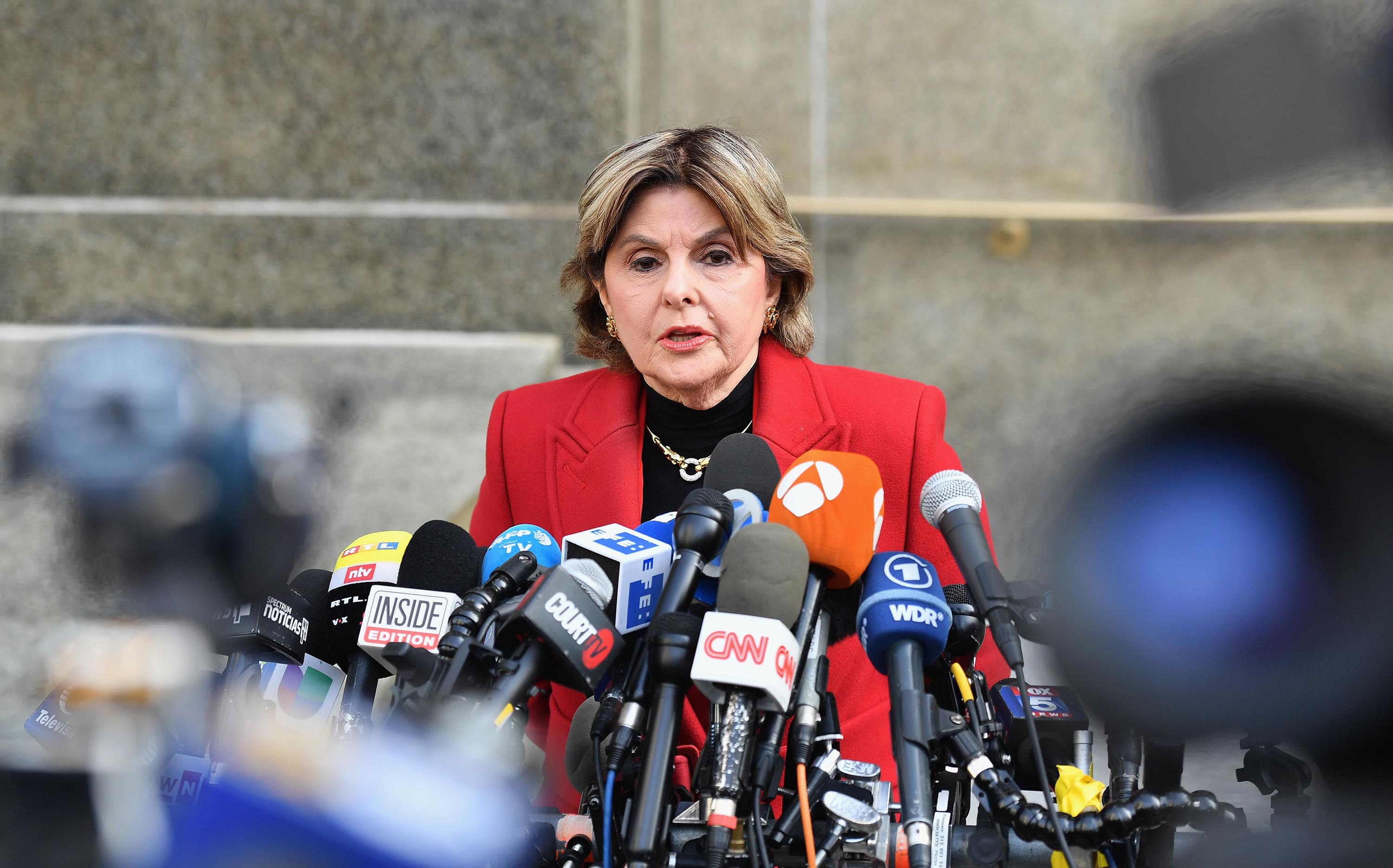 Gloria Allred, who represents Weinstein accuser Miriam Haley, speaks at the Manhattan Criminal Court on February 24, 2020 in New York City.