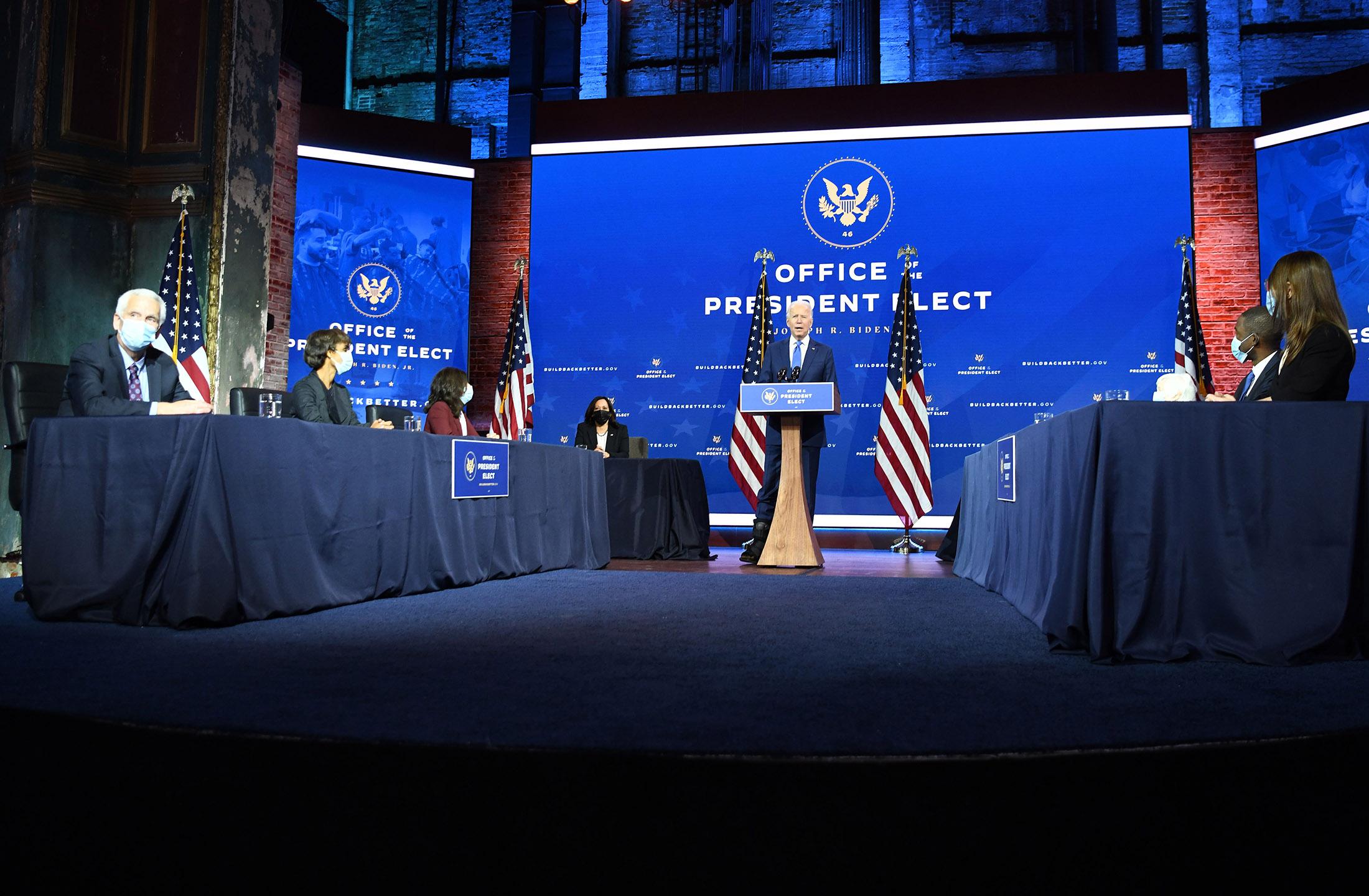 U.S. President-elect Joe Biden announces his economic team at The Queen Theater in Wilmington, Delaware, on December 1, 2020.