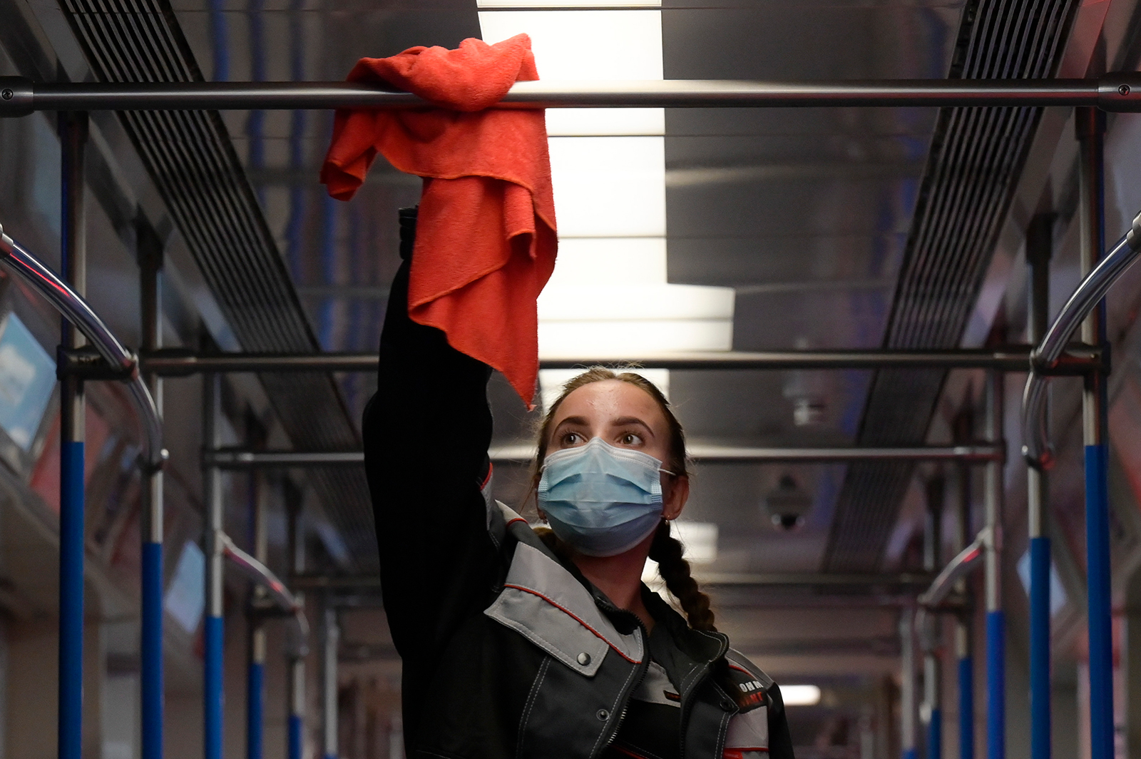 An employee disinfects a metro train to prevent coronavirus spread, at a Moscow depot on October 22.