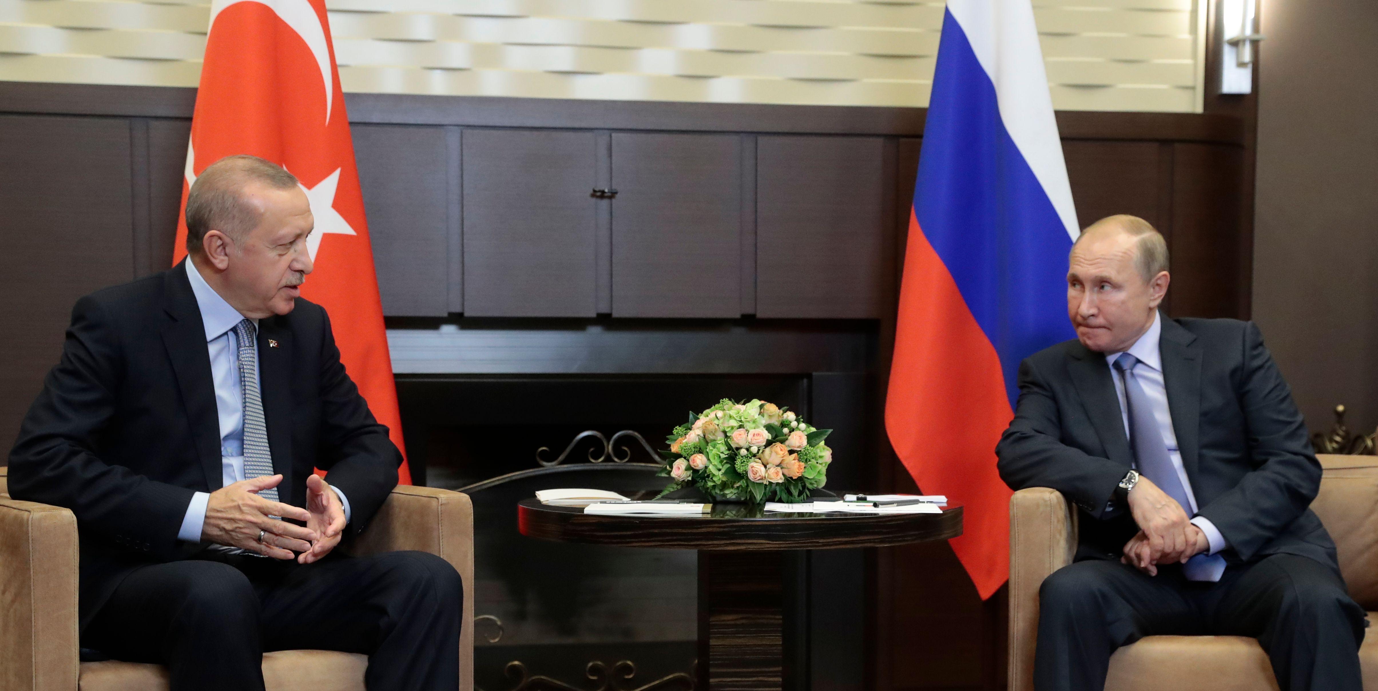Russian President Vladimir Putin meets with his Turkish counterpart Recep Tayyip Erdogan in Sochi on Oct. 22, 2019.
