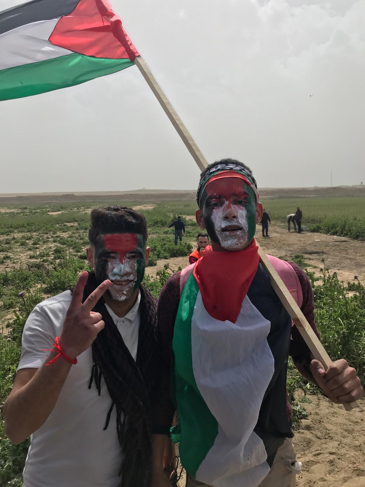 Demonstrators gather on the Israel-Gaza border Saturday.