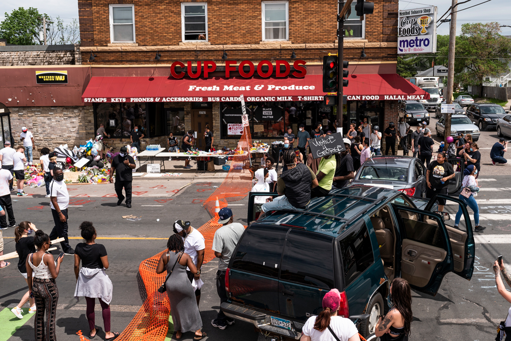 Protesters gather outside the Cup Foods on Chicago Avenue and 38th Street on May 27, in Minneapolis.