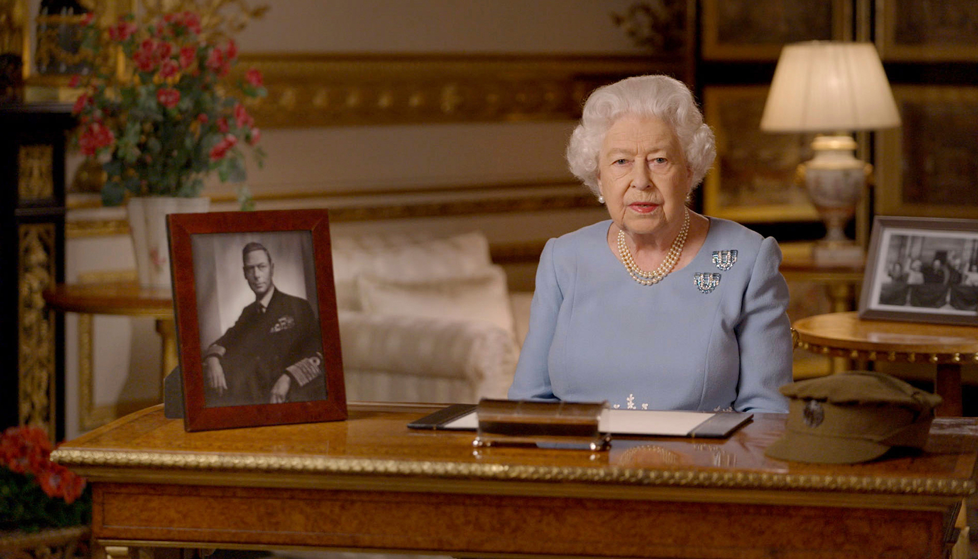 Queen Elizabeth II addresses the nation and the Commonwealth on the 75th anniversary of VE Day, from Windsor Castle in Windsor, England, on May 8.