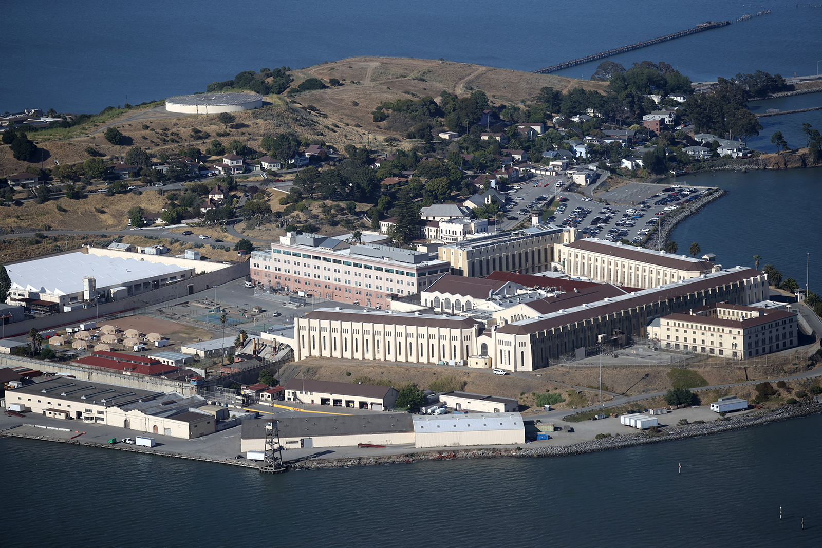 An aerial view of San Quentin State Prison in San Quentin, California as seen on July 08.