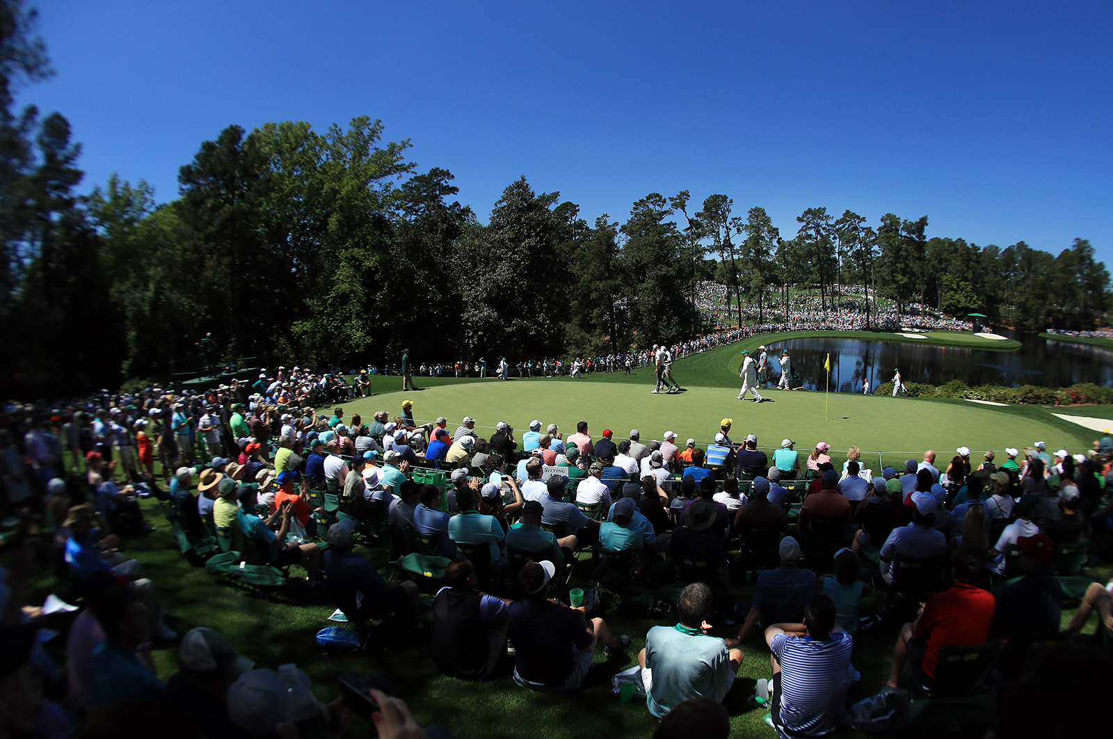 A general view of play on the fifth hole during the Par 3 Contest prior to the Masters at Augusta National Golf Club on April 10, 2019 in Augusta, Georgia.