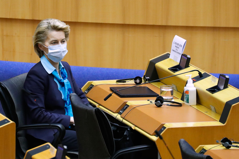 European Commission President Ursula von der Leyen wears a face mask during a plenary session of the European Parliament in Brussels on May 13.