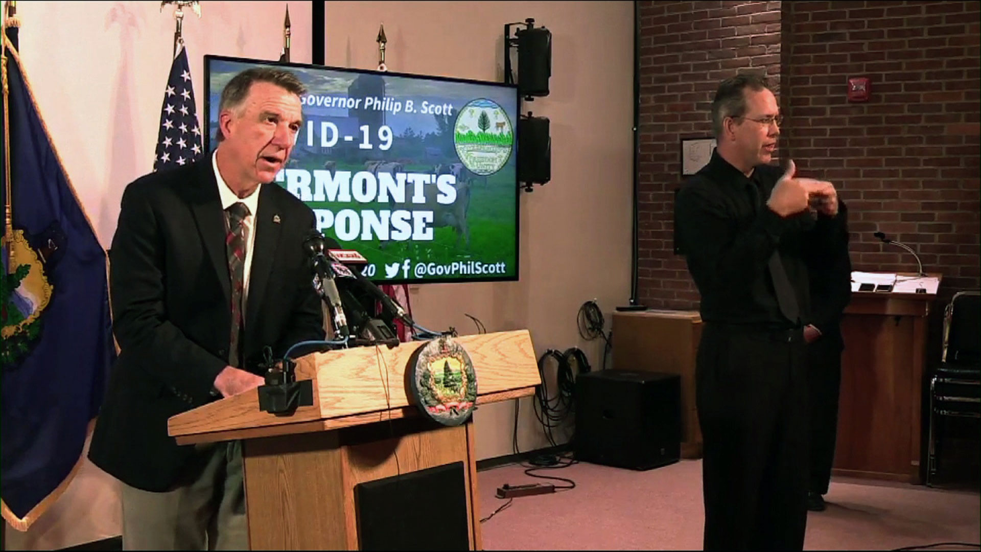 Vermont Gov. Phil Scott holds a news conference on Friday.