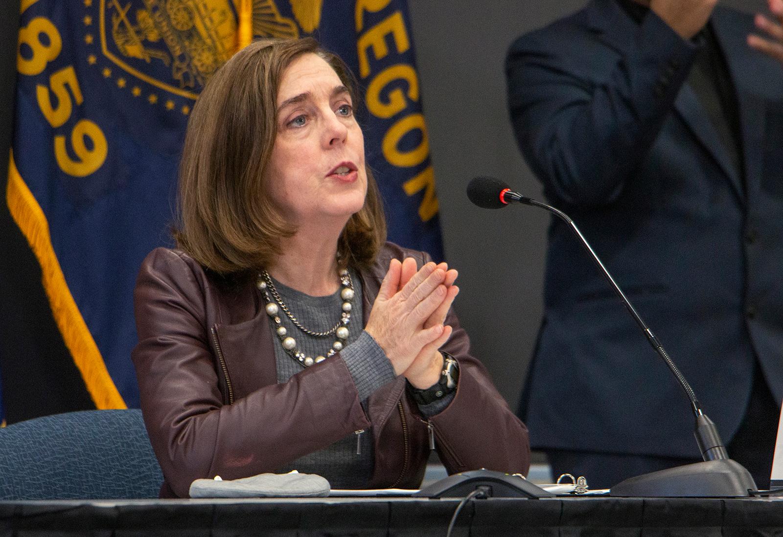 Gov. Kate Brown speaks in Portland, Oregon, on November 10.