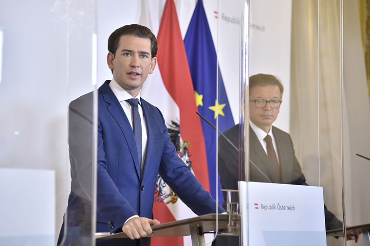 Austrian Chancellor Sebastian Kurz gives a press conference on the new restrictions in Vienna on October 31.