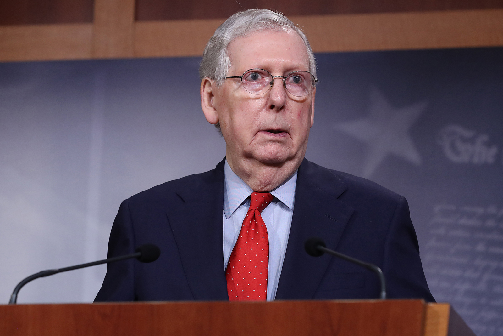 Senate Majority Leader Mitch McConnell speaks during a news briefing at the U.S. Capitol April 21, in Washington, DC.