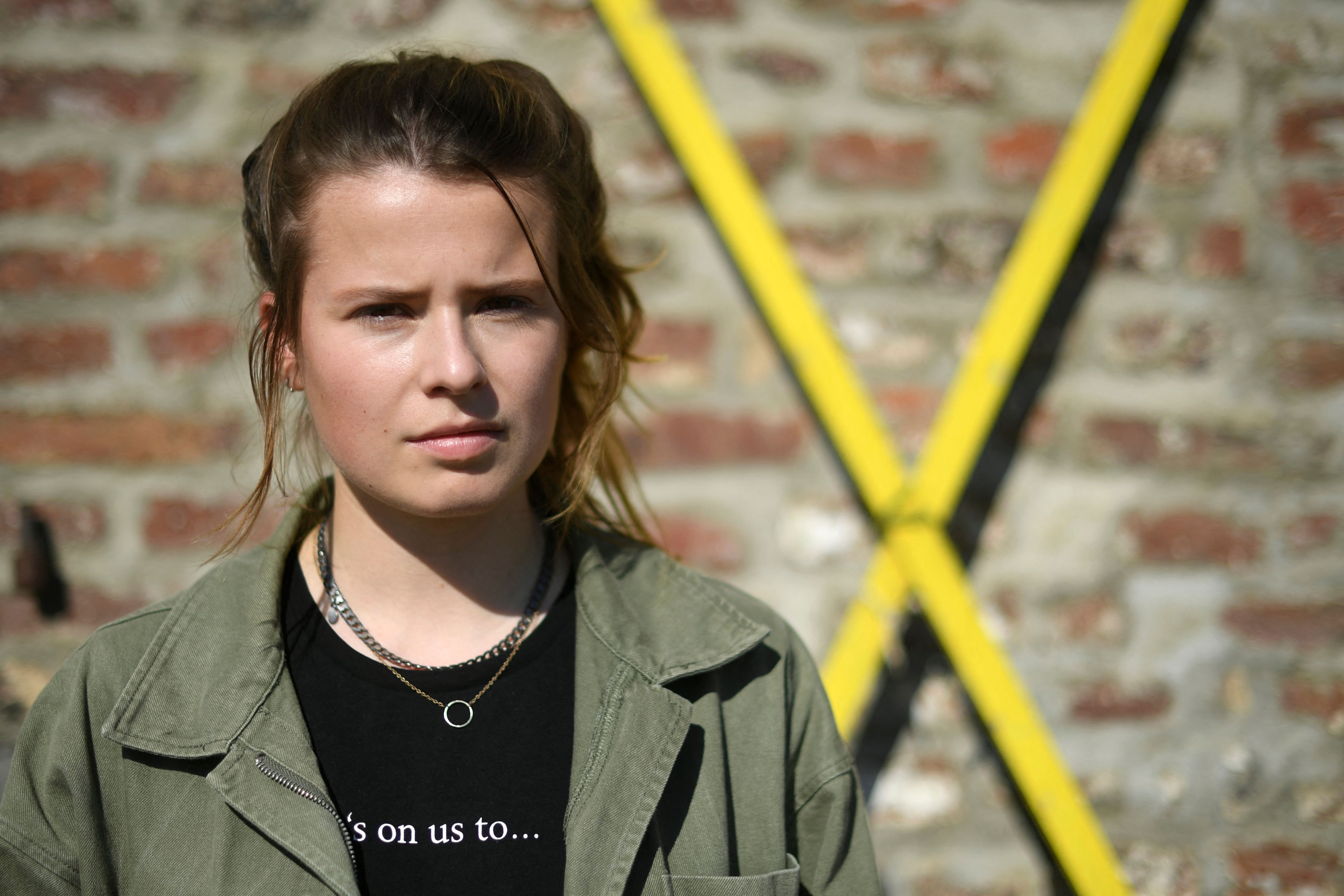 German climate activist Luisa Neubauer looks on as she and other activists give a press statement in Luetzerath, western Germany, on Saturday, September 25.