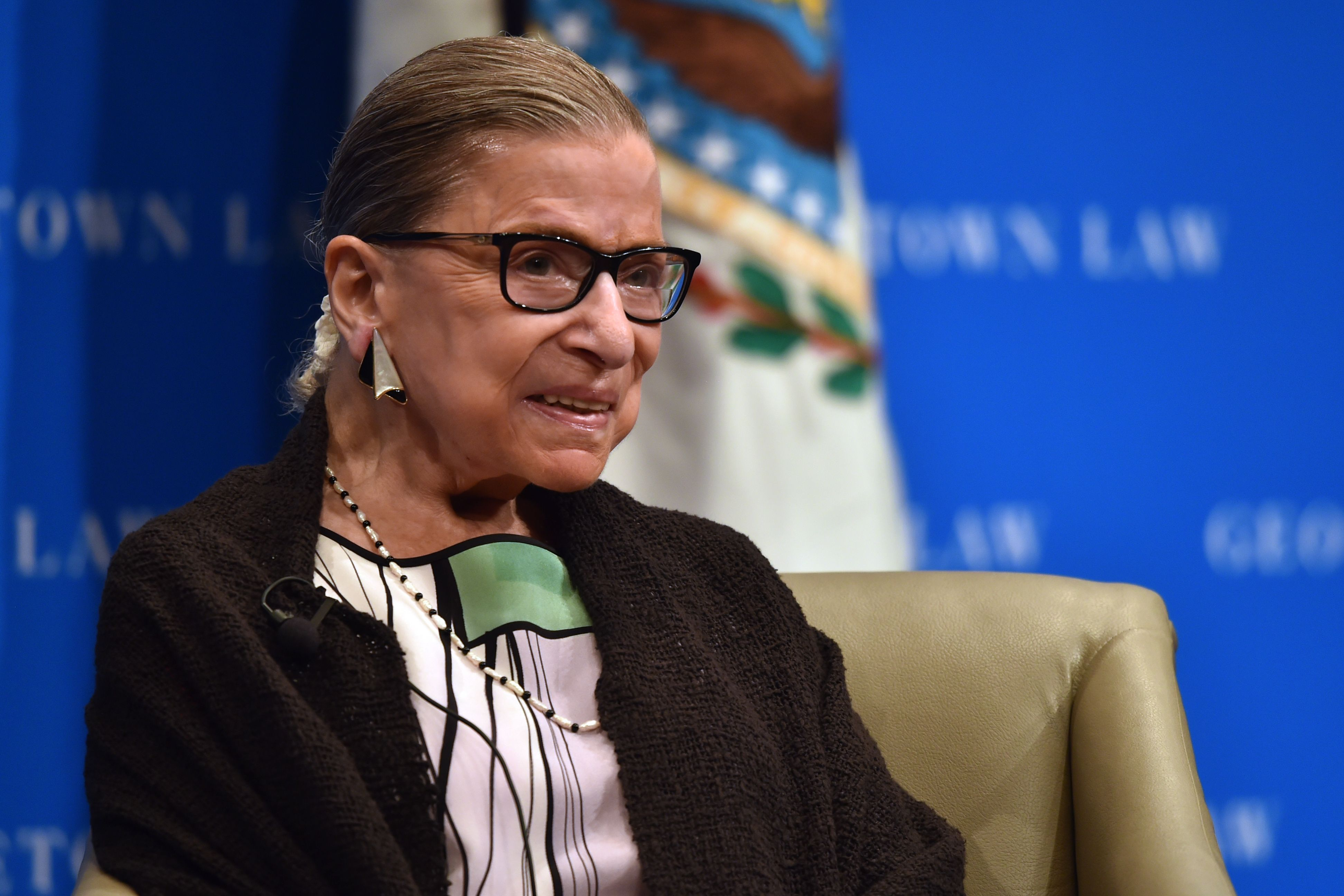 Supreme Court Ruth Bader Ginsburg speaks to Georgetown University law students on September 20, 2017 in Washington, DC.