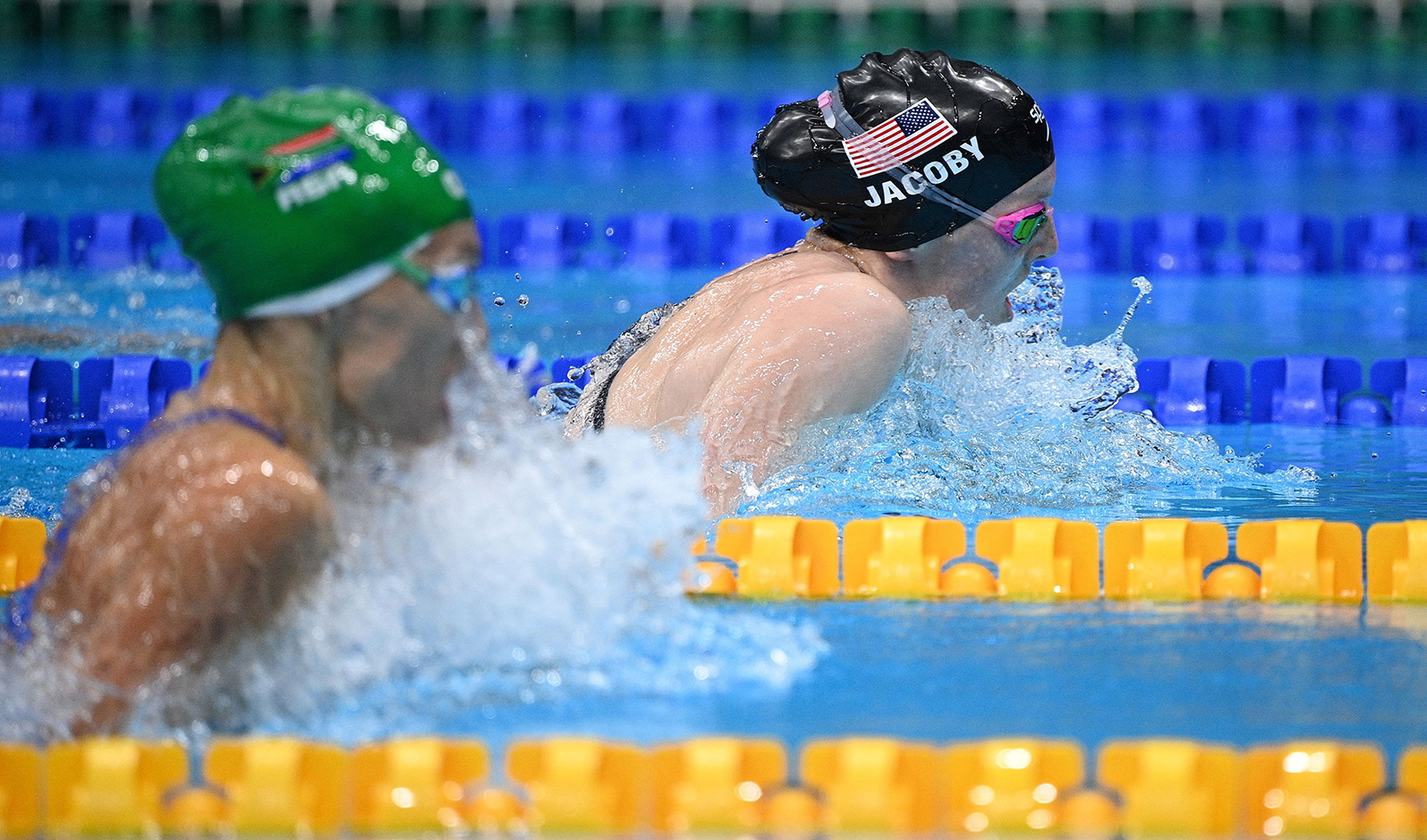 American swimmer Lydia Jacoby competes in the 100m breastroke final on July 27.