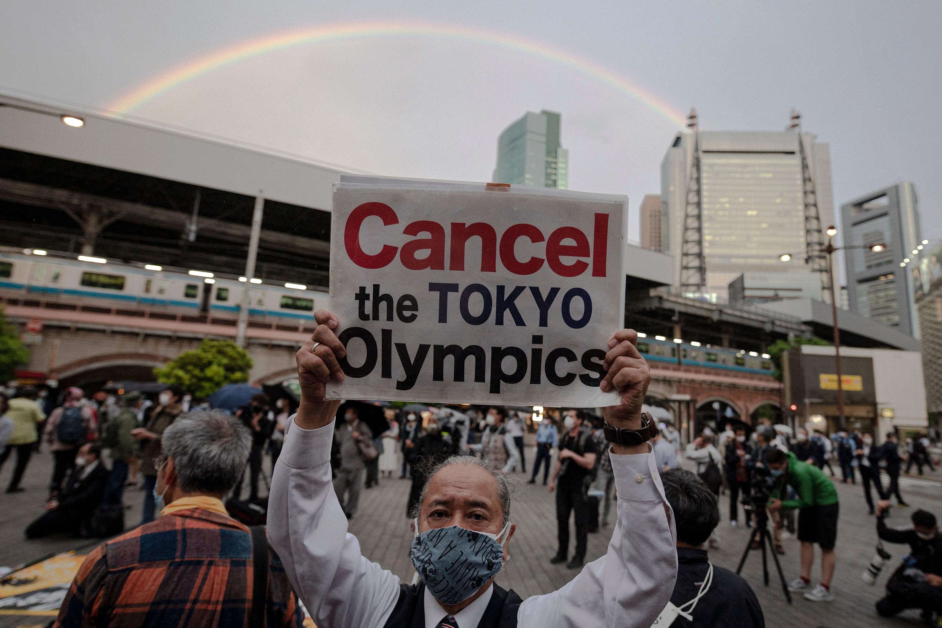 People protest against the hosting of the Olympic Games in Tokyo, on May 17.