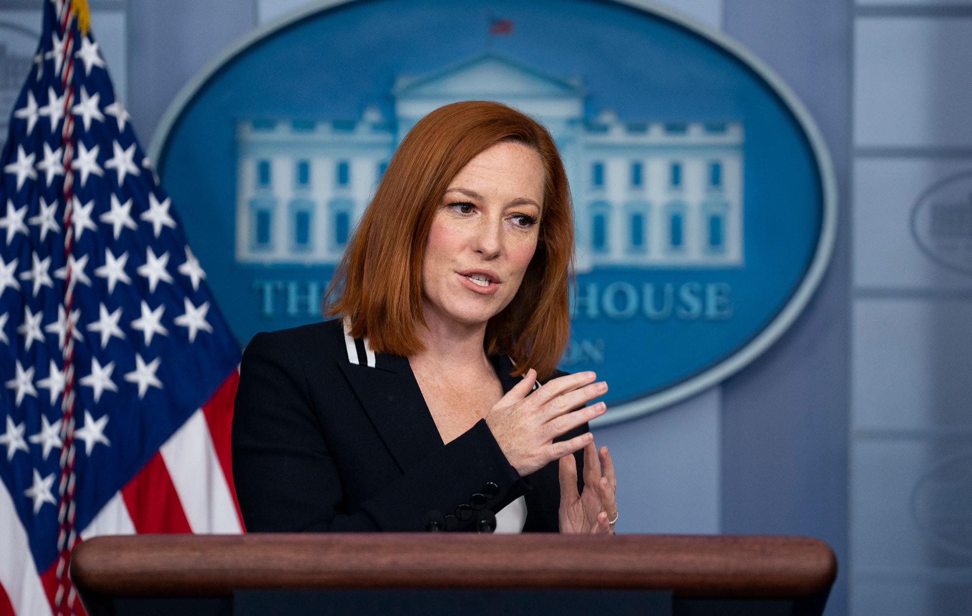 White House press secretary Jen Psaki speaks during a press briefing at the White House on April 21 in Washington, DC.