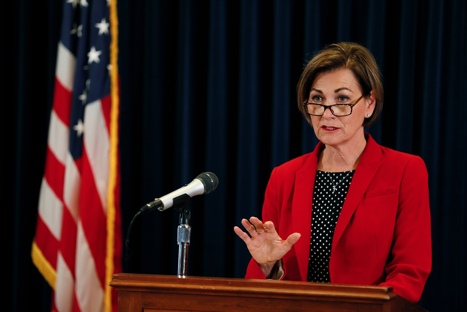 Iowa Gov. Kim Reynolds speaks during a news conference in Des Moines, Iowa, on June 2.