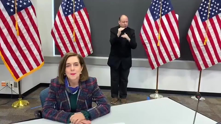 Oregon Governor Kate Brown asked residents on Monday via a video posted to her official Twitter account to keep social gatherings small.