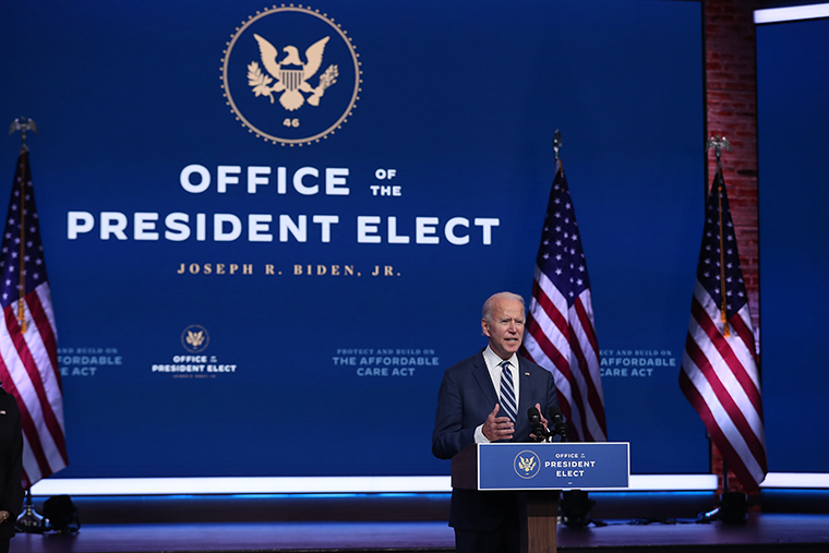 President-elect Joe Biden addressing the media on November 10, 2020.
