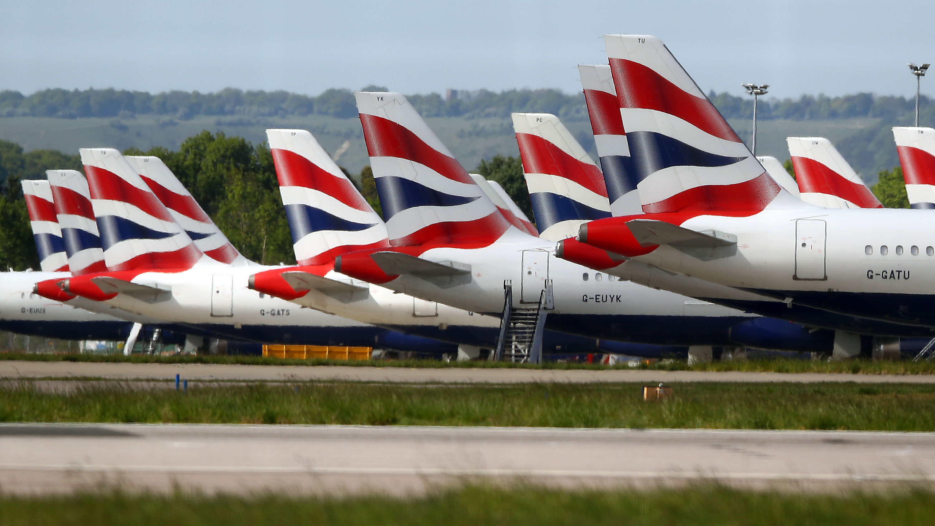 British Airways planes are seen parked on May 5 at Gatwick airport in London.