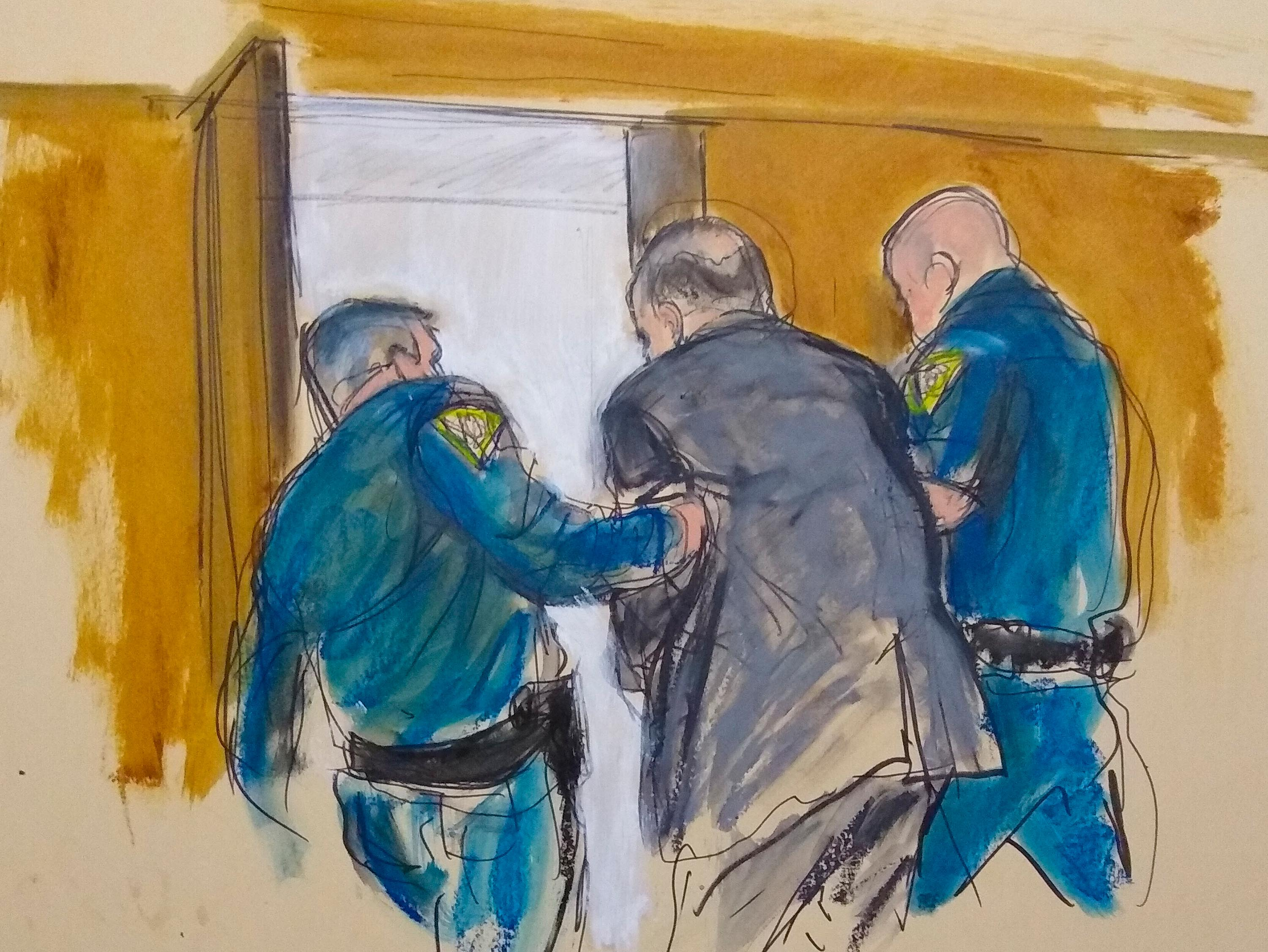 In this courtroom sketch, Harvey Weinstein, is led out of Manhattan Supreme Court by court officers, Monday, February 24.