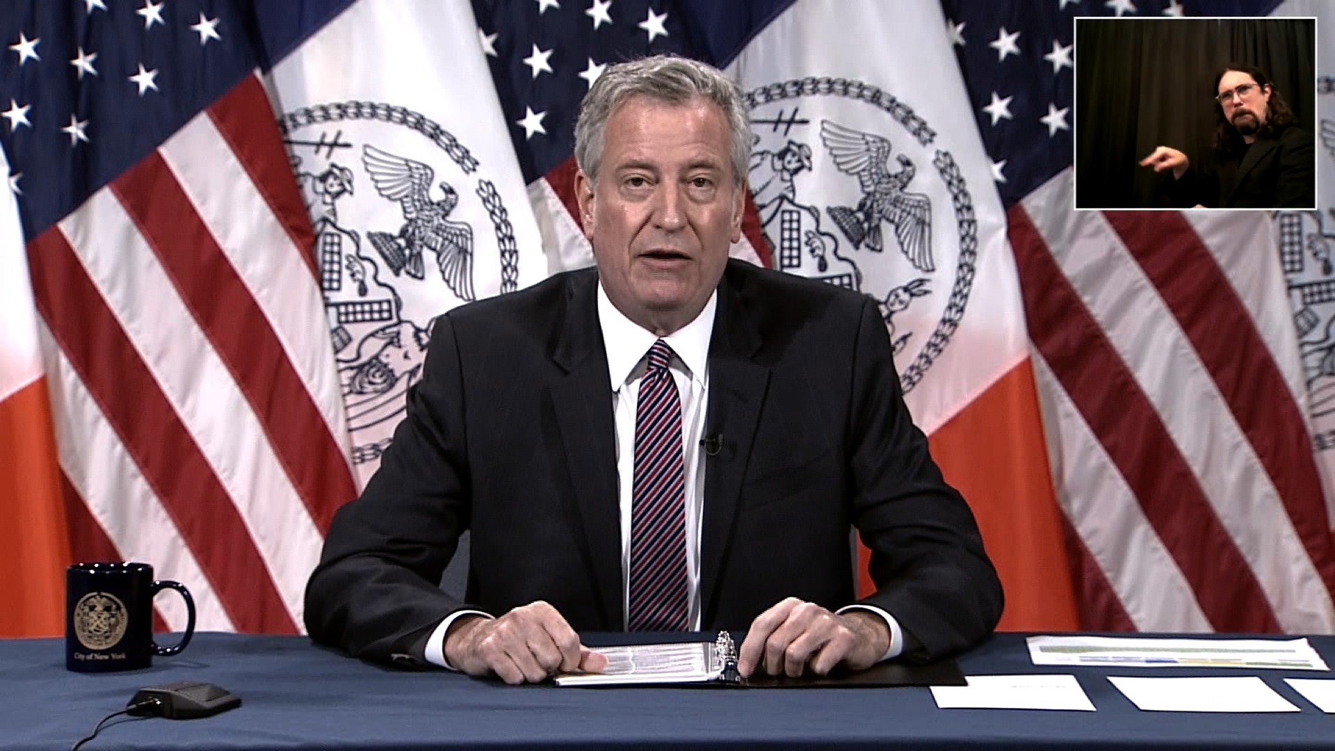 New York City Mayor Bill de Blasio speaks during a press conference in New York on June 11.