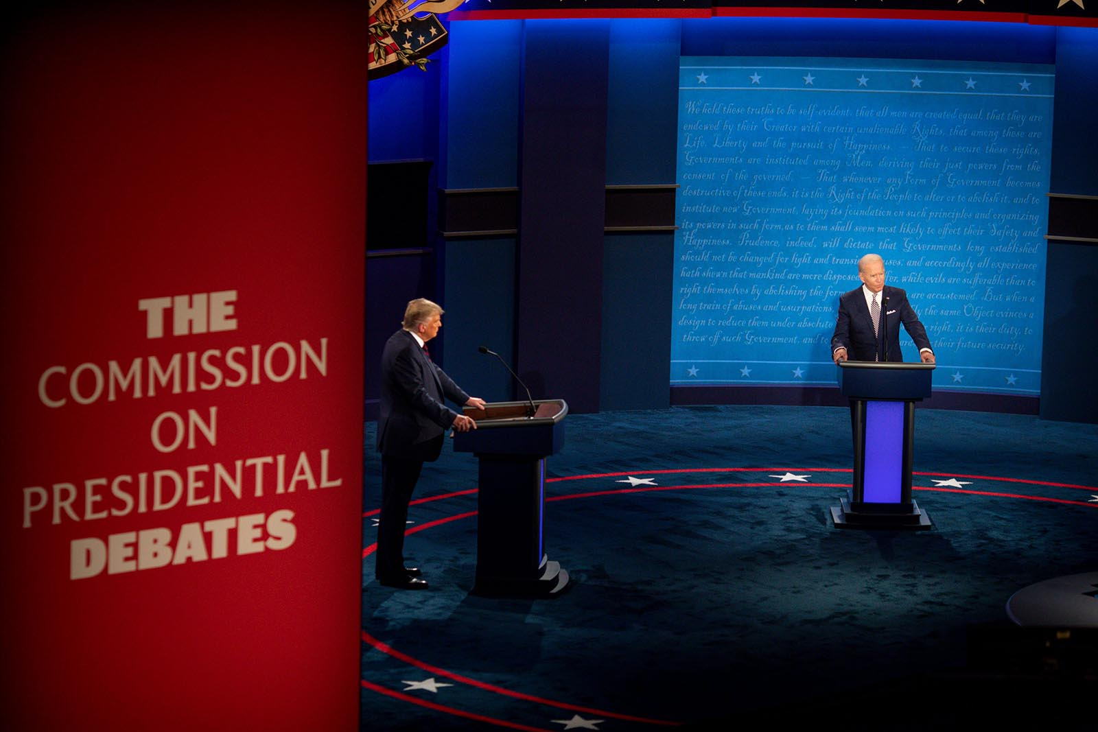 President Donald Trump and Democratic presidential candidate and former Vice President Joe Biden appear in the first Presidential debate.