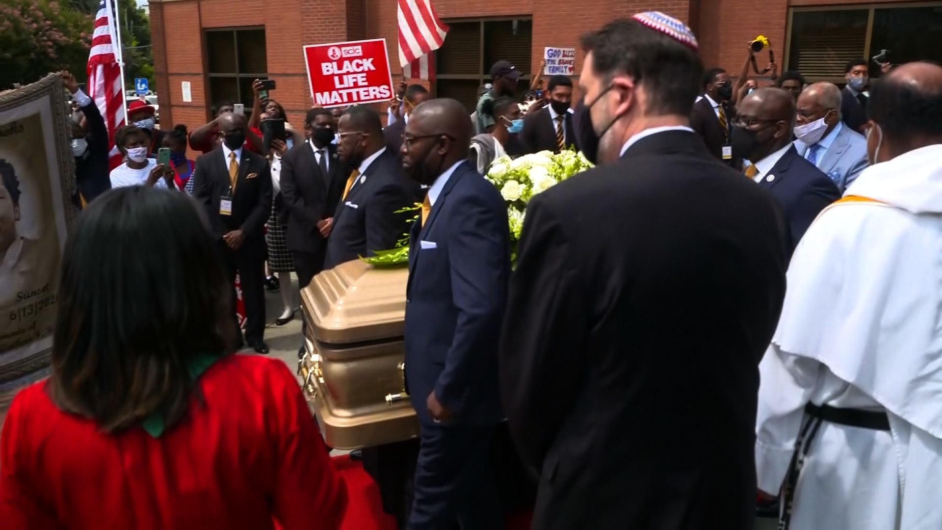 The casket of Rayshard Brooks is carried out of Ebenezer Baptist Church in Atlanta on June 23.
