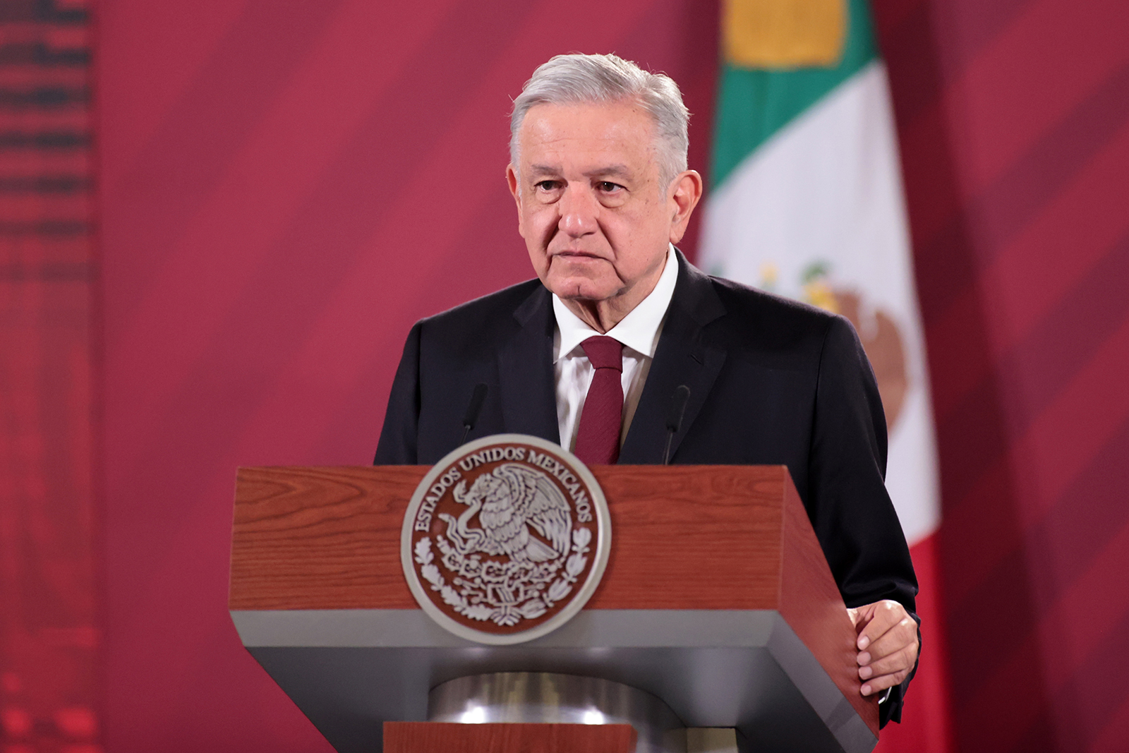 Andres Manuel Lopez Obrador, president of Mexico speaks at Palacio Nacional in Mexico City, on August 13.