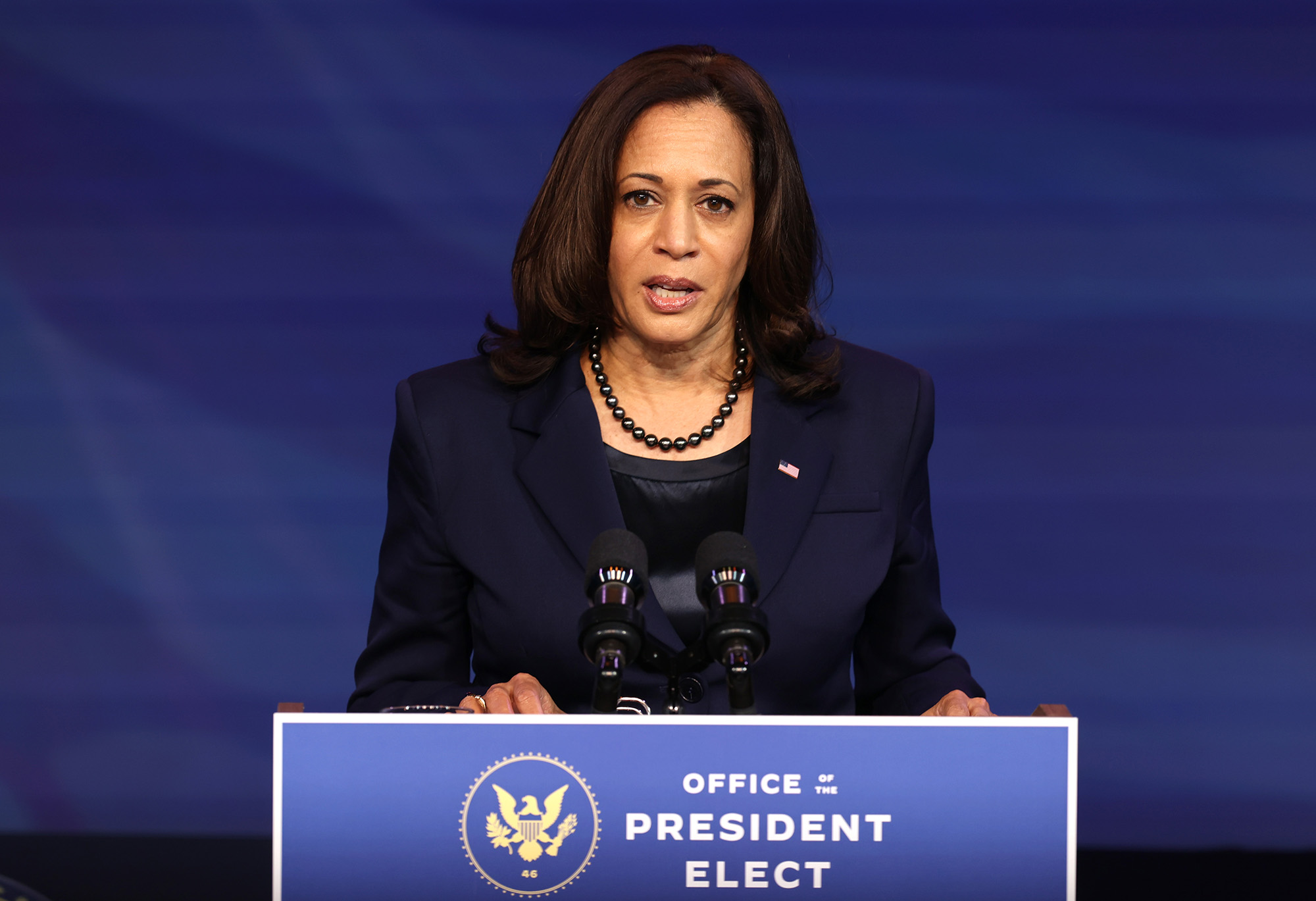 U.S. Vice President-elect Kamala Harris speaks during an event to announce new cabinet nominations at the Queen Theatre on December 11, in Wilmington, Delaware.