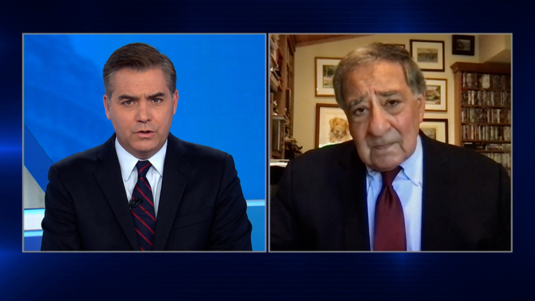 Leon Panetta (right) during his interview with Jim Acosta on September 11, 2021