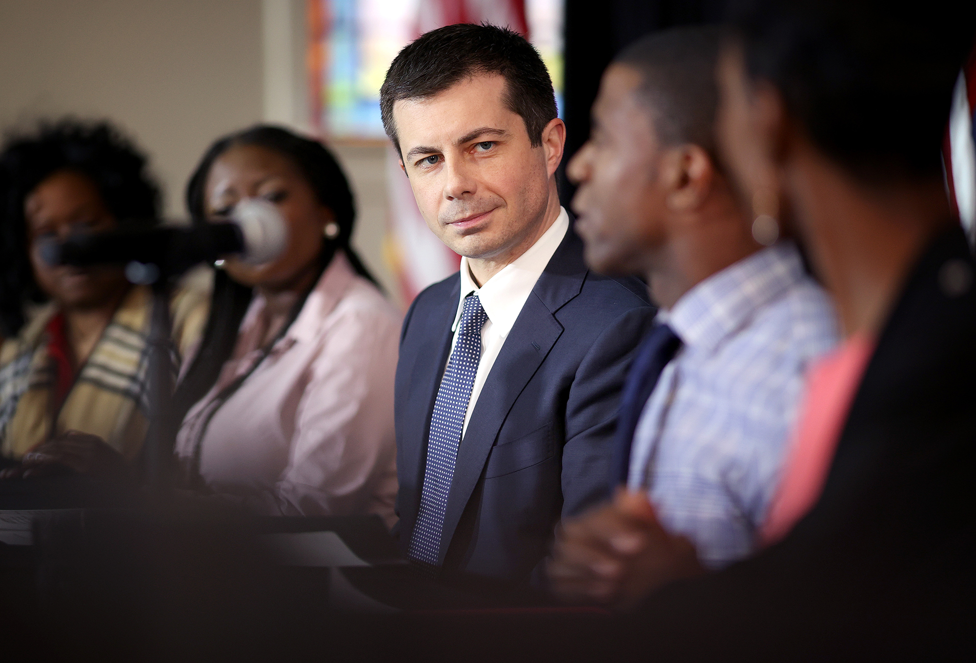 Democratic presidential candidate former South Bend, Indiana Mayor Pete Buttigieg participates in a Health Equity Roundtable at Nicholtown Missionary Baptist Church February 27 in Greenville, South Carolina.