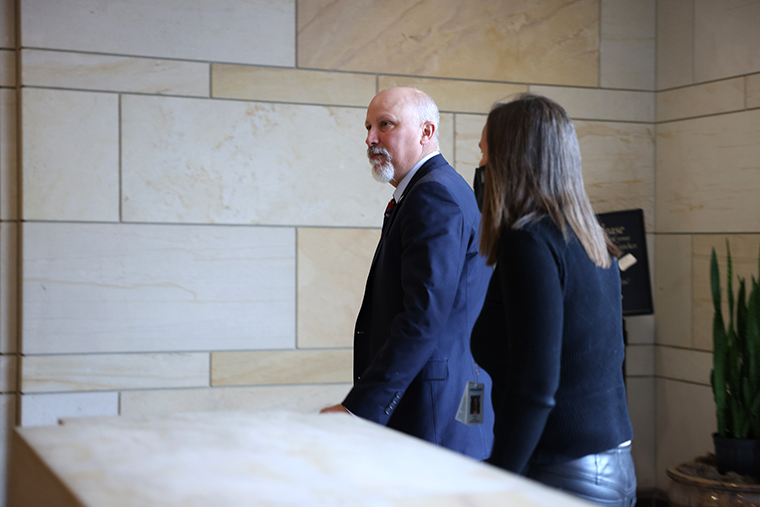 Rep. Chip Roy leaves a Republican House caucus meeting where the Republicans voted to remote Rep. Liz Cheney of her leadership role, at the U.S. Capitol on on May 12.