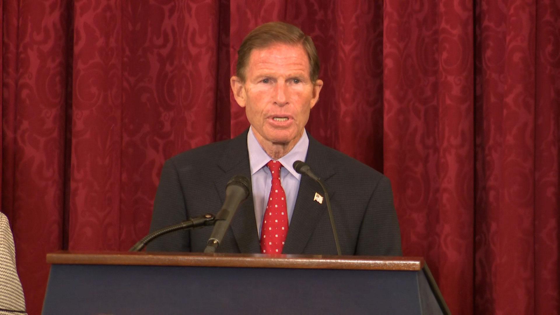 Sen. Richard Blumenthal speaks at a press conference in Washington, DC, on September 15.